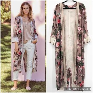 Johnny Was Silk Kimono Floral Robe Long Sleeve